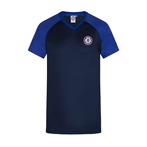Fc Training Kit (Chelsea FC Official Gift Mens Poly Training Kit T-Shirt Navy V Neck XXL)