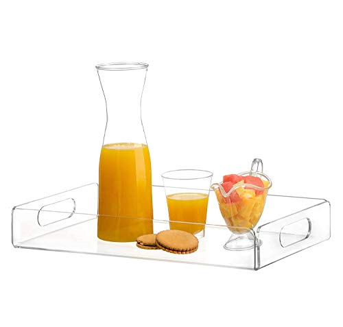 acrylic tray tea tray and coffee table tray breakfast tray Clear Acrylic Serving Tray with Handles -