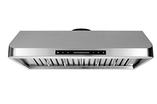 Thorkitchen HRH3001U 900 cfm Under Cabinet Stainless Steel Range Hood with LED Display Touch Sensor Control, 30 , Stainless Steel
