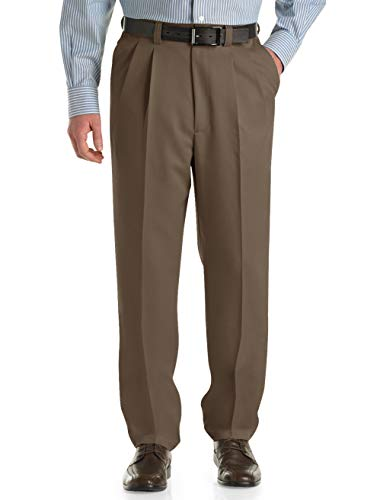 (Oak Hill by DXL Big and Tall Waist-Relaxer Pleated Microfiber Pants (52 X 30, Dark Taupe))