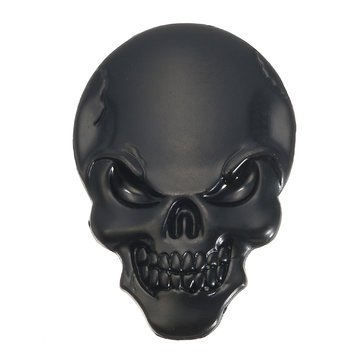 Demon Skulls Metal 3D Car Sticker Skull Bone Emblem Badge Decals Sticker(Black) ()