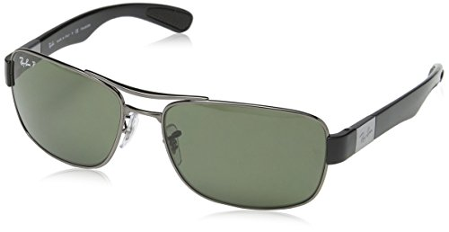 Ray-Ban Men's Steel Man Sunglass Polarized Rectangular, Gunmetal, 61 mm -