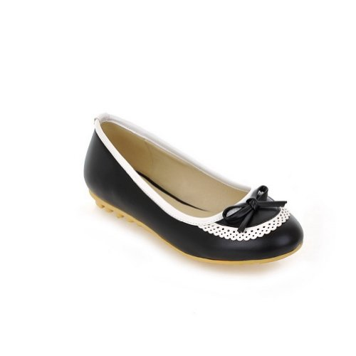 Round 7 PU Flats WeenFashion Toe Soft M Bowknot Solid Black Material B Closed US Women's whith 88wYE7