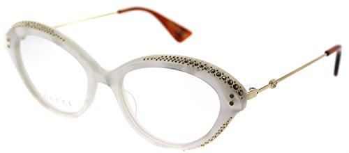 Gucci GG 0215O 003 White Plastic Cat-Eye Eyeglasses 51mm