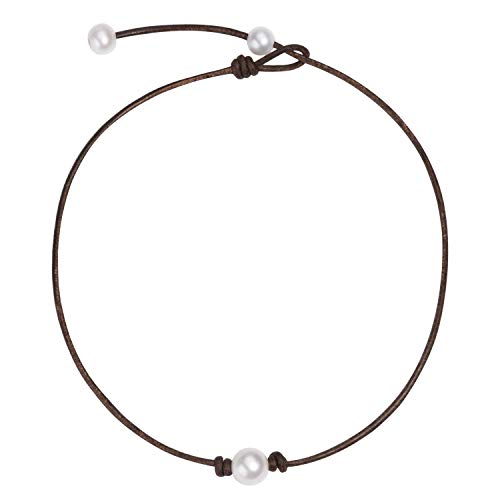 One Single Freshwater Cultured Pearl Choker Necklace on Genuine Leather Cord Adjustable Necklace Handmade Choker Jewelry Gift for Women Girls Adjustable Brown Leather Necklace