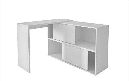 L-shaped Shelves (Manhattan Comfort Bari Bookcase Desk Collection Versatile Modern Computer Desk with Storage Compartments, White)