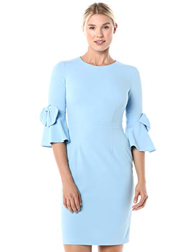 Donna Morgan Women's Stretch Crepe 3/4 Bell Sleeve Sheath Dress, Blue Cadet, 12