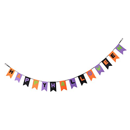 Spirt Halloween (Dovewill Halloween Banner Hallowmas Bunting All Hallows' Day Haunted House Evil Spirt Props Decoration Felt 2.5m)