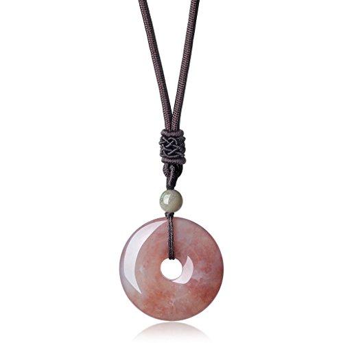 (AmorWing Adjustable Semi Precious Gemstones Natural India Agate Round Donut)