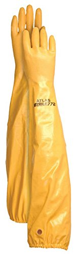Atlas Glove WG772L 26-Inch Long Sleeve Nitrile Coated Cotton Lined Work Gloves, - Work Lined Gloves