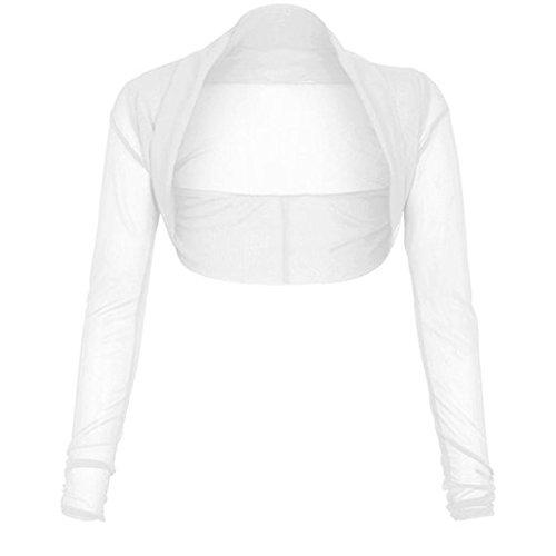 Mesh Trendz Cardigan Plus white Friendz Bolero Sheer Size Shrug manches longues femmes Crop RFxAZq