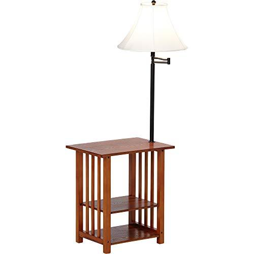 Amazon.com: Misil - Mesa de madera de roble con lámpara y ...