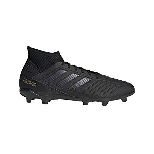 adidas Men's Predator 19.3 Firm Ground Soccer Shoe, Black/Black/Gold Metallic, 9 M US