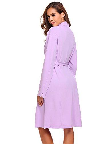 etuoji Women Waffle Dressing Down Bathing Robe for Spa Hotel Sleepwear(Light Purple,Size XL) by etuoji (Image #4)