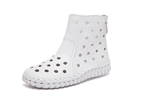 Bottom Cuero Moda EUR37UK455 Redonda Botas Party Cabeza de Work Flats 3 Bombas Hollow Soft Cortas Señoras Genuino Zapatos Las NVXIE UK Fall Nuevo EUR Únicos WHITE 35 Spring de Mujeres Ocio xYaAHOqw