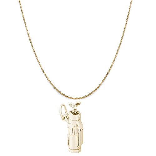 Rembrandt Charms 10K Yellow Gold Golf Clubs Bag Charm on a 10K Yellow Gold Rope Chain Necklace, 20