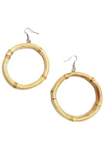 Sidecca Tiki Pinup Natural Bamboo Hoop Dangle Earrings (Natural) -