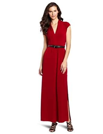 Kenneth Cole New York Women's Knit Maxi Dress With Belt, Holly Red, X-Small