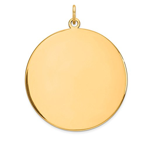 (14k Yellow Gold .035 Gauge Circular Engravable Disc Pendant Charm Necklace Round Plain Fine Jewelry Gifts For Women For Her)