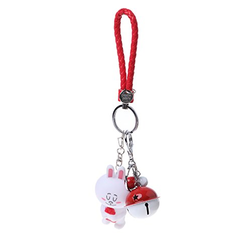 Price comparison product image AISme Bunny Rabbit Key Chain Leather Rope Key Holder Metal Bell Keyring Charms Bag (Q)