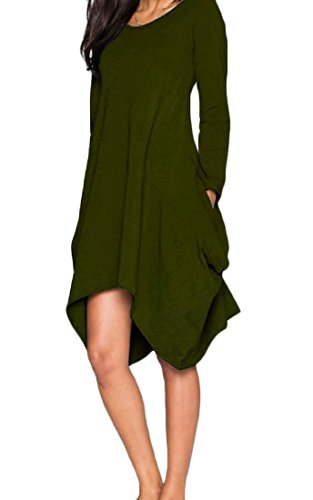 Womens Army Pure Comfy Cocktail Color Dress Pockets Irregular Fit Elegant Green HdqUqw