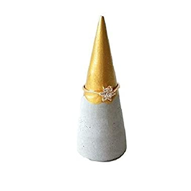 Concrete Ring Cone With Gold Paint Tip for Jewelry Storage and Organization