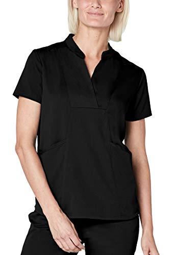 (Adar Pro Scrubs for Women - Crossover Bib Front Scrub Top - P7000 - Black - M)