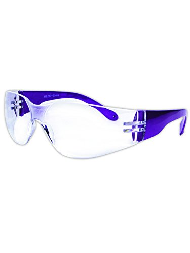 Magid Safety Y10661C Safety Glasses | Hard Coated Purple Frame Safety Glasses with a Clear Lens - UV Protection, Frameless Unilens, Integrated Nose Pad (1 - Glasses Safety Colored