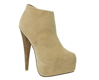 d40eec23a150 Truffle Womens Ladies Nude Wood Effect High Heel Platform Ankle Boots Size  6  Amazon.co.uk  Shoes   Bags