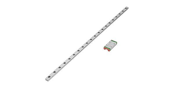 Raíl guía lineal en miniatura, LML9H, guía lineal de 400 mm, puerta corredera lineal de 9 mm de ancho + bloque de guía lineal de 20 cm de ancho, alta resistencia, alta