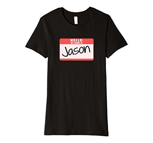 Womens Hello My Name is Jason Halloween Killer Costume Premium Tee Large Black