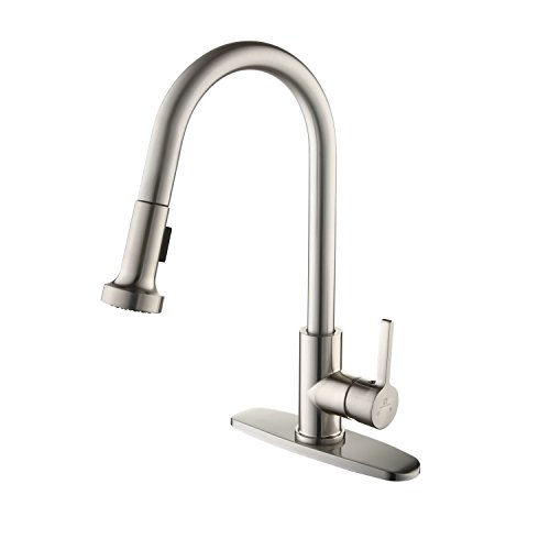 HOMELODY Pull Out Kitchen Faucet with 2 Pull Down Spray head replacement, Single Handle 1 or 3 Hole Desk Mounted High Arc Brushed Nickel Swivel 360° Kitchen Faucet