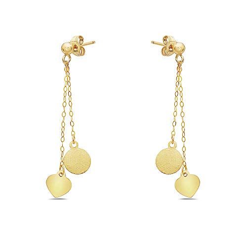 Pori Jewelers 14K Solid Gold Dangling Charm Earrings - Multiple Styles Available - Trendy Dangle Earrings (Heart & Circle) ()