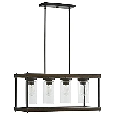 """Stone & Beam Rustic Indoor/Outdoor Option Outdoor Pendant Light with Bulb, 60.05""""H, Black with Faux Wood"""