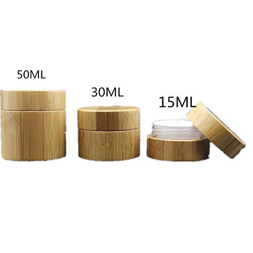 Bamboo Lid Frosted Bottle Outer Bamboo Made Inner PP Made Bottoes For Cosmetic, Capacity 15ml 30ml 50ml Samples Bottoes For Solid Cosmetics(3 Packed) Empty Cosmetic Comtainer (Color : Multi-colored)