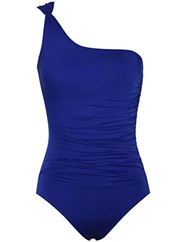 Hilor Women's One Piece Swimsuits One Shoulder Swimwear Asymmetric Ruched Monokinis Bathing Suits Royal Blue 14
