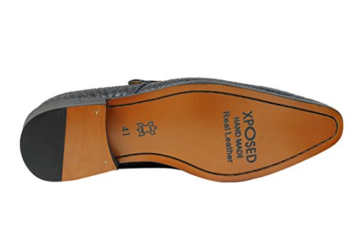 Herren Echt Leder Krokodil Haut Effekt rot blau Mönch Schuhe rutschfest auf Smart-Slipper Blau