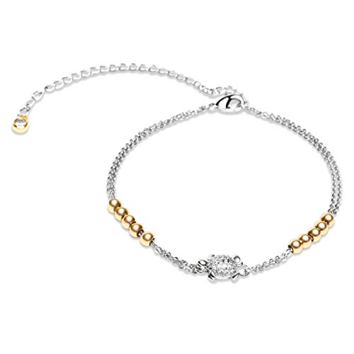 (Karseer Sea Turtle Ankle Bracelet Ocean Animal Beach Anklet Foot Jewelry Gold Metal Beads White Gold Cable Chain Adjustable)