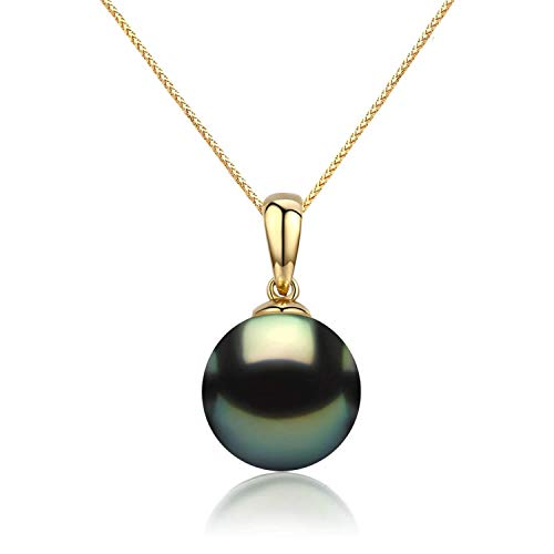 (CHAULRI Real Gold 9-10mm Tahitian Black Pearl 18K Pendant Necklace w/ 18 Inch 18K Gold Chain - Jewelry Gifts for Women (Yellow-Gold))