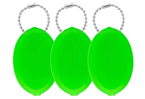 Oval Rubber Coin Purse Change Holder With Chain By Nabob (Neon ()