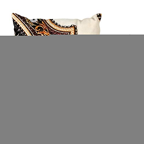 (LALILO Set of 2 Throw Pillow Covers, Tan Brown Chap Fringed Lea r Look Double-Sided Pattern Sofa Cushion Cover Couch Decoration Home Gift Bed Pillowcase 18x18)