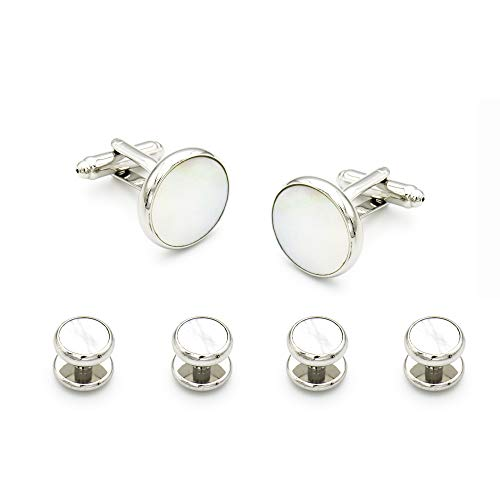 Tuxedo Pearl (JS SEWELL Mens Cufflinks and Studs Set for Tuxedo Shirts Business Wedding – Shell and Silver)