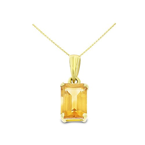 14K Yellow Gold 5 x 7 mm. Emerald Cut Genuine Natural Citrine Pendant With Square Rolo Chain - Emerald Pendant Citrine Cut