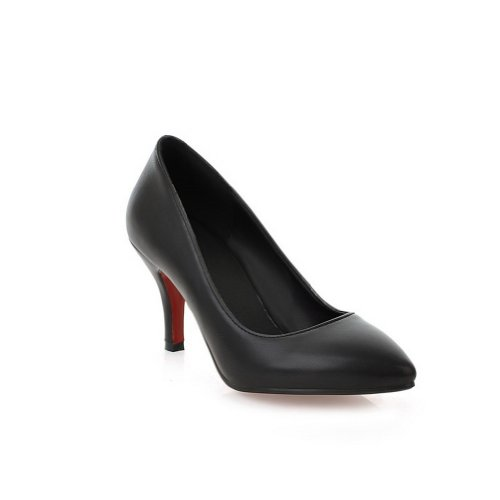 VogueZone009 Womens Simple Stiletto Closed Pointed Toes PU Pumps Black WqoP0UMPO
