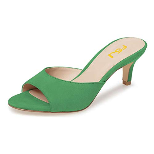 FSJ Women Comfort Low Heel Mules Peep Toe Suede Sandals Slip On Dress Pump Shoes Size 7 Green-6cm ()