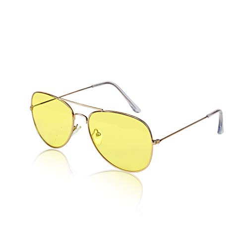 Shooting Glasses Yellow Lenses - Night Vision Glasses for Driving Shooting Anti Glare Sunglasses HD Eye Yellow