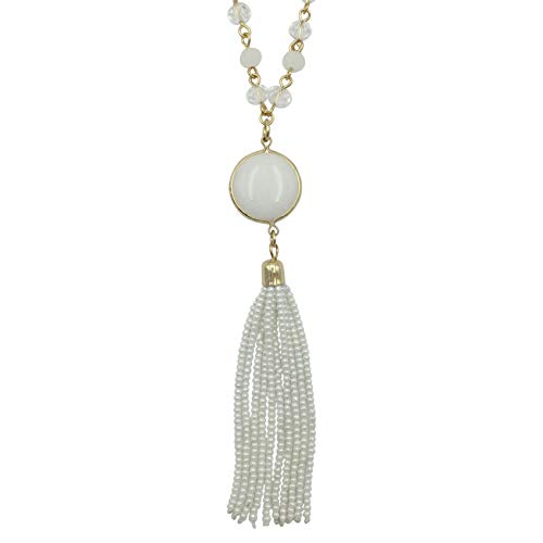 (Long Glass Beaded Tassel Fringe Boutique Style Necklace (White with Stone))