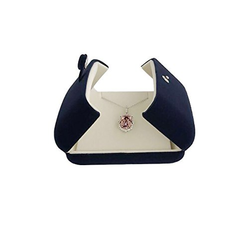 Svea Display Double Function Navy Blue Velvet Pendant Earrings Necklace Gift Box Double Layer Fine Material Modern Elegant (Pendant Necklace) by Svea Display (Image #4)'