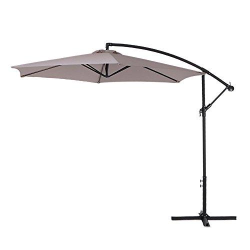 IKAYAA Offset Cantilever Umbrella Adjustable Patio Garden Hanging Umbrella with Crank Cross Base