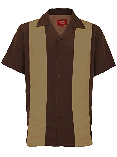 Ginoken Men's Two Panel Retro 50s Bowling Casual Dress Short Sleeve -